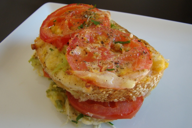 Savory Tomato Avocado Bread Pudding Stacks | Rice Kernel